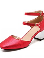 Women's Shoes Leatherette Chunky Heel Heels Heels Outdoor / Office & Career / Dress Red / Silver / Gray / Gold
