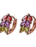 Rainbow Muliticolor AAA Zircon 18k Gold/Silver Hoop Stud Earrings