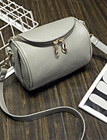 Women PU Duffel Shoulder Bag-Gray / Black