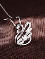 TOP Romantic 2016 Women Nice Jewelry Cute Real 925 Sterling Silver Full Zircon Swan Pendant Crystal Necklace