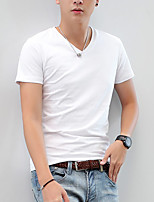 The 2016 Summer men's T-shirt cotton bamboo fiber simple pure V collar male slim half sleeve summer tide