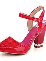 Women's Shoes Leatherette Chunky Heel Heels Heels Outdoor / Office & Career / Dress Pink / Red / White