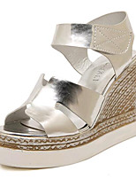 Women's Shoes Leatherette Summer Wedges / Heels Outdoor / Casual Wedge Heel Buckle White / Silver