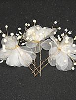 סיכת שיער כיסוי ראש נשים / נערת פרחים חתונה / אירוע מיוחד טול / סגסוגת / דמוי פנינה חתונה / אירוע מיוחד 2 חלקים
