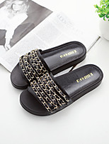 Women's Shoes Leather Flat Heel Slingback / Slippers / Open Toe Sandals Dress / Casual Black / White