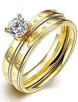 2016 Luxury Zircon Romantic Screw Gold Titanium Steel Wedding Couple Ring