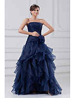 Formal Evening Dress A-line Strapless Sweep / Brush Train Organza with Ruffles / Side Draping