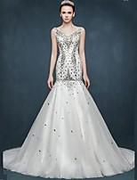 웨딩 드레스-핏 & 플레어 채플 트레인 V-넥 새틴