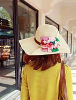 Women Straw Flowers Floppy Hat,Cute / Party / Casual Spring / Summer / Fall