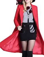 Women's Casual/Daily Street chic Pea Coats,Solid Long Sleeve Winter Red / Gray / Orange Polyester