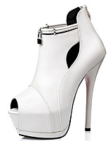Women's Shoes PU Stiletto Heel Heels / Peep Toe Heels Casual Black / White / Silver / Gray