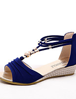Chaussures Femme-Extérieure / Habillé / Décontracté-Noir / Bleu / Rouge / Blanc / Beige-Talon Compensé-Bout Ouvert / Chaussons-Sandales-PU