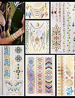 6PCS New Waterproof Body Art Women Gold Silver Multicolored Jewelry Chain Necklace Beautiful Temporary Tattoo Stickers