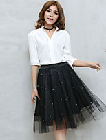 Women's Solid Black / Gray Skirts,Casual / Day / Street chic Midi