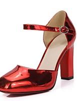Damenschuhe-High Heels-Outddor / Büro / Kleid-maßgeschneiderte Werkstoffe-Blockabsatz-Absätze / Rundeschuh-Lila / Rot / Silber / Grau /