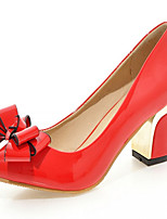Women's Shoes Leatherette Chunky Heel Heels Heels Outdoor / Office & Career / Dress Pink / Red / Gray