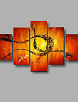 Hand-painted Modern Abstract Wall Art Home Office Decor Oil Painting on Canvas 5pcs/set With Stretched Frame
