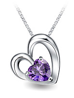 Romantic Women Wedding Jewelry Real Austrian Rhinestone Crystal Double Heart Pendant Amethyst Necklace Silver Link Chain