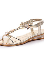 Women's Shoes PU Flat Heel Open Toe Sandals Party & Evening / Dress / Casual Silver / Gold