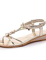 Chaussures Femme-Décontracté / Soirée & Evénement / Habillé-Argent / Or-Talon Plat-Bout Ouvert-Sandales-PU