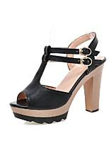 Chaussures Femme-Mariage / Extérieure / Bureau & Travail / Habillé-Noir / Bleu / Beige-Gros Talon-Confort / Bout Arrondi-Sandales-