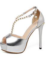 Women's Shoes Patent Leather Stiletto Heel Heels / Platform / Open Toe Sandals Wedding / Party & Evening / DressSilver
