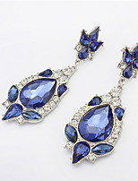 Fashion Women Rhinestone Filled Dangle Earrings Simulated Blue Sapphire Charms Flower Piercing Drop Earrings