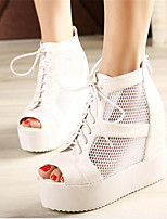 Women's Shoes Leatherette Wedge Heel Wedges / Heels / Peep Toe Heels Outdoor / Casual Black / White