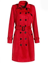 Women's Solid Red / Gray Coat,Street chic Long Sleeve Polyester