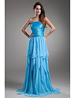Formal Evening Dress-Ocean Blue A-line Strapless Floor-length Chiffon / Charmeuse
