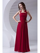 Formal Evening Dress-Burgundy Sheath/Column Halter Floor-length Chiffon