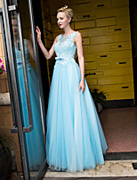 Formal Evening Dress-Sky Blue Ball Gown Scoop Floor-length Lace / Tulle
