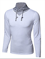Men's Solid Casual T-Shirt,Cotton Long Sleeve-Black / Blue / White / Gray