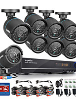 SANNCE® 720P AHD 8CH  Recording CCTV DVR Black Bullet Camera Home Surveillance Security Camera System