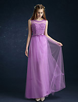 Formal Evening Dress A-line Scoop Floor-length Tulle with Flower(s)