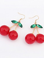 Cheapest Red Stone Green Leaf Delicate Mini Double Cherry Design Drop Earrings For Women Famous Brand Jewelry
