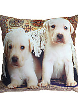 3D Design Pint Two Dogs Decorative Throw Pillow Case Cushion Cover for Sofa Home Decor Polyester Soft Material