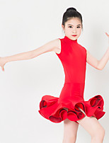 Kids' Dancewear Dresses Children's Performance Spandex / Polyester Ruffles 1 Piece Purple / Red / White Latin Dance Backless Sleeveless
