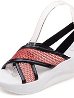 Women's Shoes Wedge Heel Wedges / Peep Toe / Platform Sandals Outdoor / Dress / Casual Pink / Red / White / Silver /