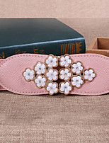 Women Leather Flowers Wide Belt,Cute / Party / Casual Alloy