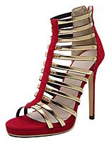 Scarpe Donna-Sandali-Casual-Tacchi / Spuntate-A stiletto-Finta pelle-Nero / Rosso