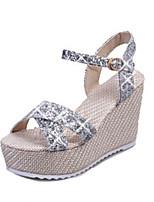 Chaussures Femme-Extérieure / Habillé / Décontracté-Noir / Argent / Or-Talon Compensé-Bout Ouvert-Sandales-PU