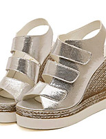 Women's Shoes Leatherette Summer Wedges / Heels Outdoor / Casual Wedge Heel Silver / Gold