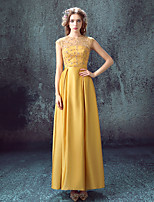 Formal Evening Dress-Gold A-line Jewel Ankle-length Lace / Satin / Stretch Satin
