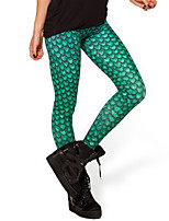 Women Solid Color / Print Legging,Polyester Medium