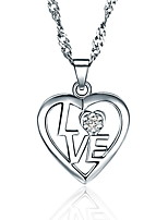 Cute 925 Silver Jewelry Shinning Simple Heart Pendant Necklace Women Lovers Couples Friends Favourite Gift