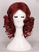 Women's Fashionable Red Color Middle Length Wave Synthetic Wigs