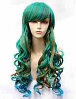mode naturelles vagues d'or de couleur mélangée cheveux synthétiques de haute qualité