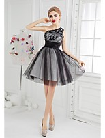 Cocktail Party Dress Ball Gown One Shoulder Short / Mini Tulle with Appliques / Beading
