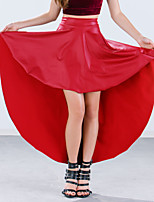 Women's Solid Red / Black Skirts,Vintage Asymmetrical